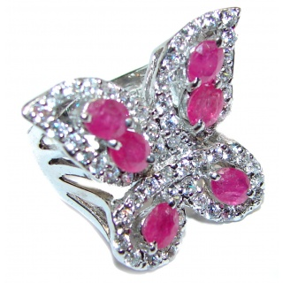 Sublime Butterfly authentic Ruby .925 Sterling Silver handmade Ring s. 7