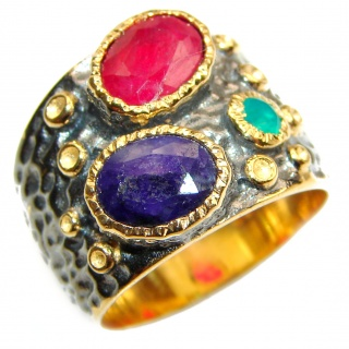 Genuine Ruby 18K Gold .925 Sterling Silver handcrafted Statement Ring size 7 3/4