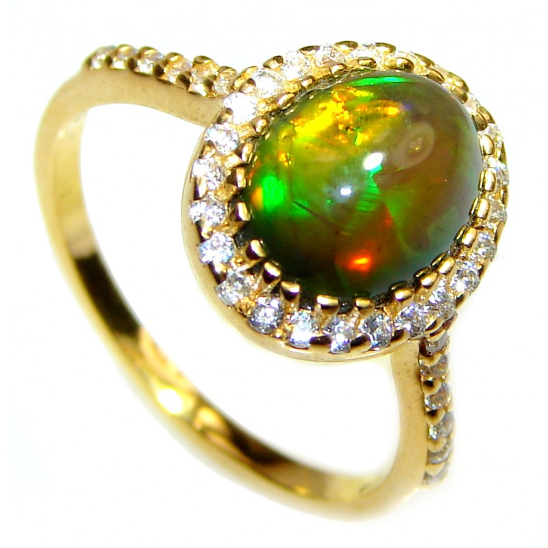 Vintage Design 2.5ctw Genuine Black Opal 14K Gold over .925 Sterling Silver handmade Ring size 7 1/4