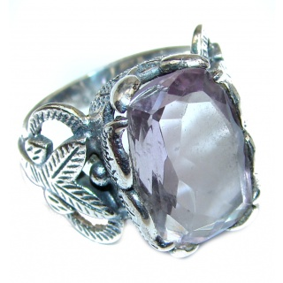 Vintage Style Pink Amethyst .925 Sterling Silver Ring s. 6