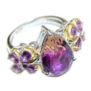 Genuine 25ct Bi- color Ametrine .925 Sterling Silver handcrafted ring; s. 6 3/4