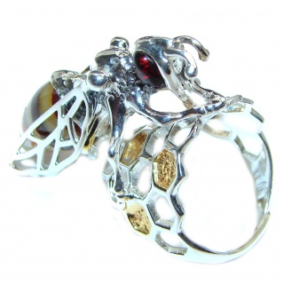 Masterpiece Honey Bee Baltic Polish Amber .925 Sterling Silver handcrafted ring; s 8 adjustable
