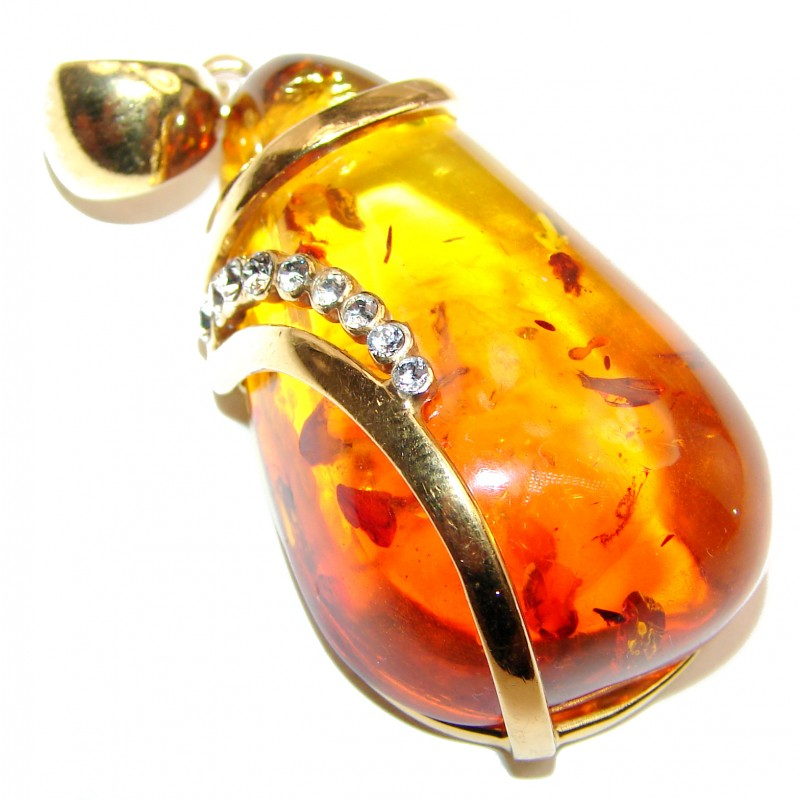 HUGE Natural Honey Baltic Amber 14K Gold over .925 Sterling Silver handmade Pendant