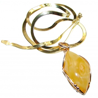 Natural Polish Amber 18K Gold over .925 Sterling Silver handcrafted necklace