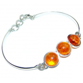 Beautiful natural Amber .925 Sterling Silver handcrafted Bracelet