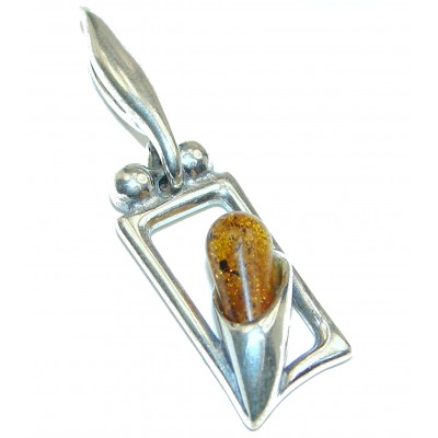 weight 7.50g Amber Sterling Silver Pendant code 17-sty-19-22 W- 1 T- 1 4 inch dim L- 1 5 8