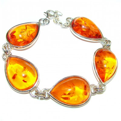 Beautiful genuine Baltic Amber .925 Sterling Silver handcrafted Bracelet
