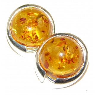 Excellent Quality Baltic Amber Clip on Sterling Silver handmade earrings