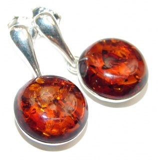 Bohemian style Authentic Baltic Amber .925 Sterling Silver handmade Earrings