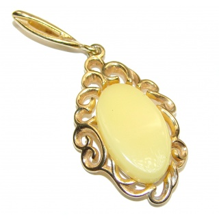 Vintage Beauty Natural Baltic Butterscotch Amber 14K Gold over .925 Sterling Silver handmade Pendant