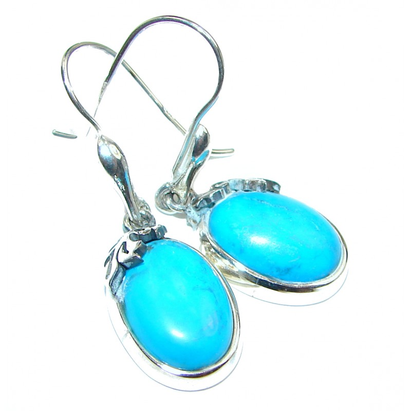 Genuine Sleeping Beauty Turquoise .925 Sterling Silver handcrafted LARGE Earrings
