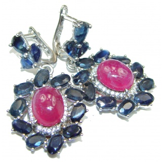 Stunning Authentic Ruby .925 Sterling Silver handmade earrings