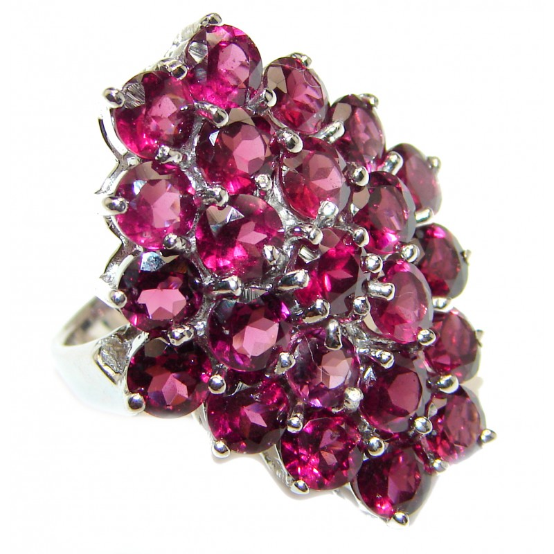 Dazzling natural Red Garnet & .925 Sterling Silver handcrafted ring size 7