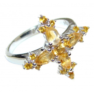 Authentic Citrine .925 Sterling Silver handmade ring size 6