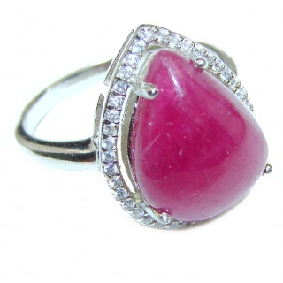 Genuine 18 ctw Kashmir Ruby .925 Sterling Silver handcrafted Statement Ring size 7