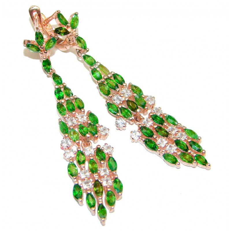 Chrome Diopside and Topaz Chandelier Earrings