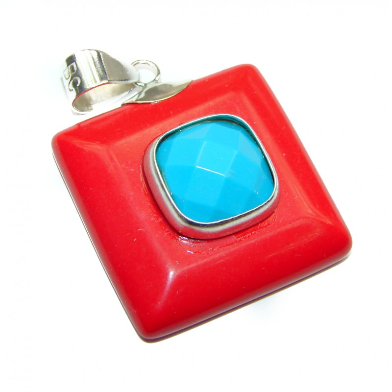 Red Fossilized Coral & Turquoise .925 Sterling Silver handmade pendant