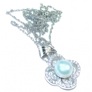 Posh Pearl white Gold over .925 Sterling Silver handmade Necklace