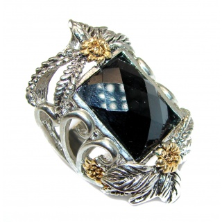 Huge Flower Black Onyx & White Topaz .925 Sterling Silver handcrafted ring; s. 8 1/2