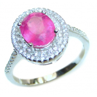 Genuine 9 ctw Kashmir Ruby .925 Sterling Silver handcrafted Statement Ring size 7 1/4