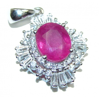 Authentic Kashmir Ruby .925 Sterling Silver Pendant