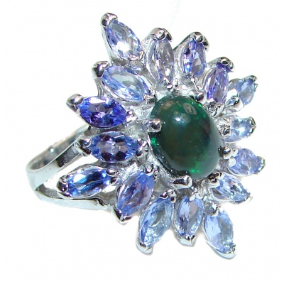 Fancy Black Opal Tanzanite .925 Sterling Silver handcrafted ring size 8