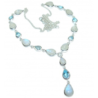 Great Masterpiece genuine Moonstone Swiss Blue Topaz .925 Sterling Silver handmade necklace