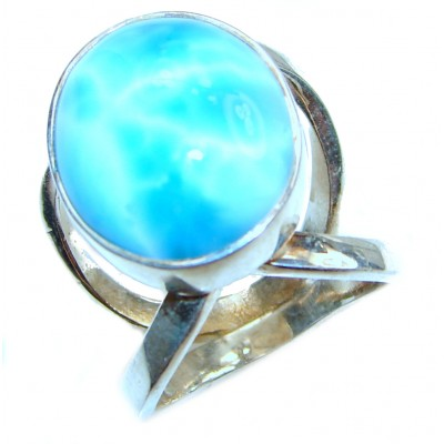 Aqua Natural Dominican Republic Larimar .925 Sterling Silver handcrafted Ring s. 7 1/4