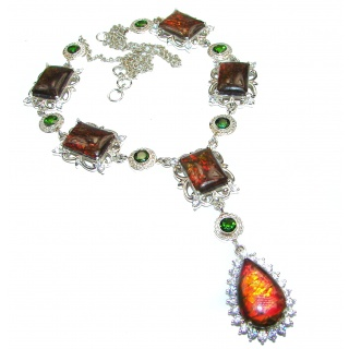 New World Natural Canadian Ammolite Sterling Silver handmade necklace