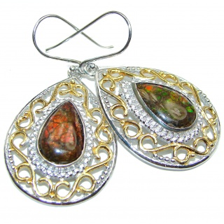 Incredible Canadian Fire Ammolite 18K Gold over .925 Sterling Silver handmade earrings