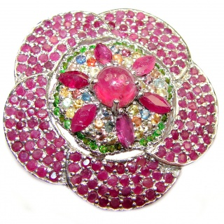 Large genuine Kashmir Ruby Emerald .925 Sterling Silver handmade Pendant - Brooch