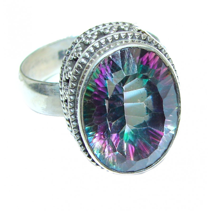 Perfect Mystic Topaz Sterling Silver Ring s. 9