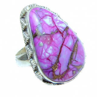 Huge Purple Turquoise .925 Sterling Silver handcrafted ring; s. 7 3/4