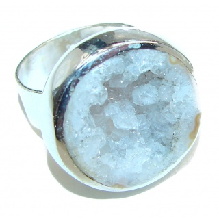Huge Exotic Druzy Agate Sterling Silver Ring s. 9