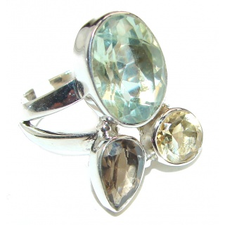 Huge Natural Green Amethyst .925 Sterling Silver handmade Cocktail Ring s. 8