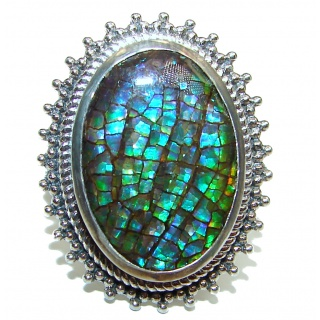 Outstanding Genuine Canadian Ammolite .925 Sterling Silver handmade ring size 8 1/4