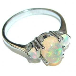 Vintage Design 2.5ctw Genuine Ethiopian Opal .925 Sterling Silver handmade Ring size 7