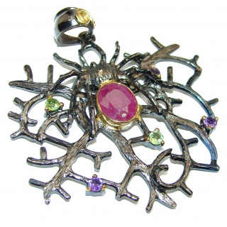 Authentic Kashmir Ruby black rhodium over .925 Sterling Silver Pendant
