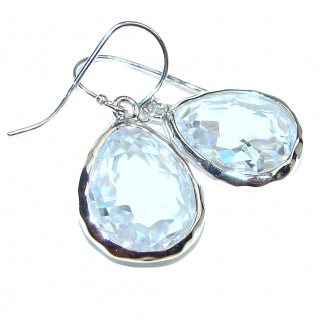 White Topaz .925 Sterling Silver handcrafted earrings