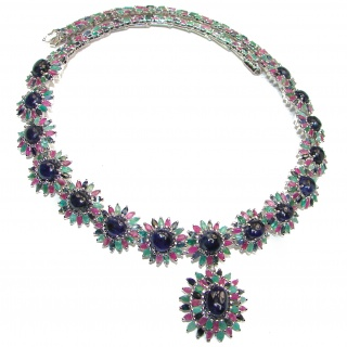 Magnificent Jewel authentic Sapphire Ruby Emerald .925 Sterling Silver handcrafted necklace