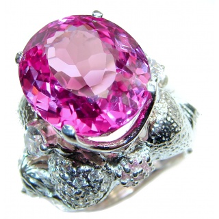 Huge Vintage Design Pink Topaz .925 Sterling Silver handcrafted ring size 7 1/4