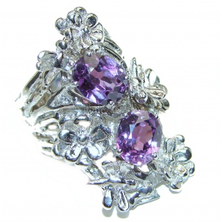 Huge Precious Alexandrite .925 Sterling Silver Statement HUGE Ring s. 7 1/4