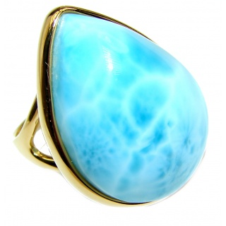 Vintage Design Natural Larimar 14K Gold over .925 Sterling Silver handcrafted Ring s. 8 1/4