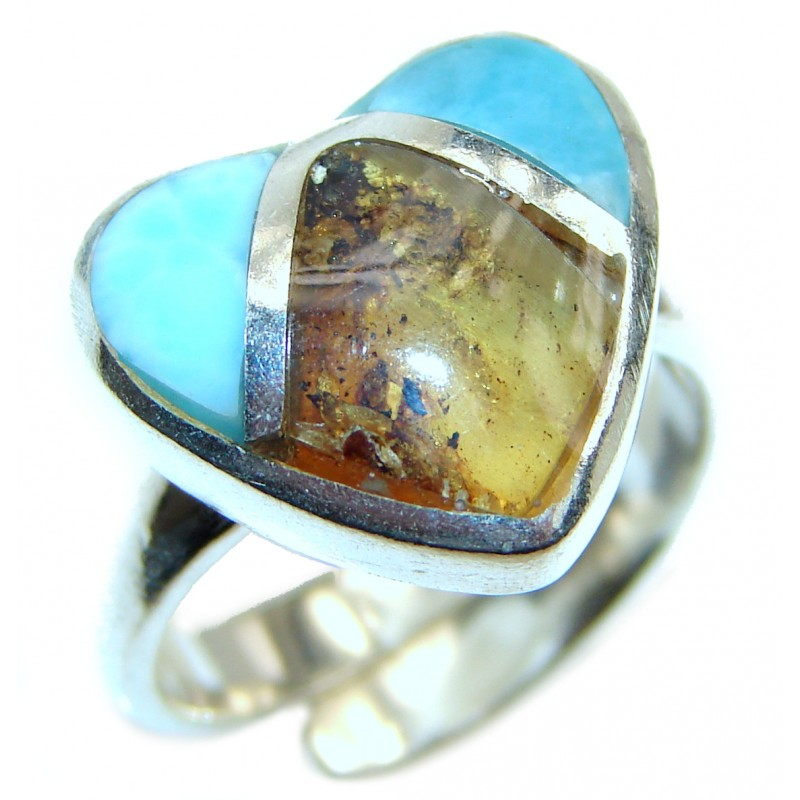Blue Larimar Amber Angel's Heart .925 Sterling Silver handcrafted Ring s. 7 adjustable