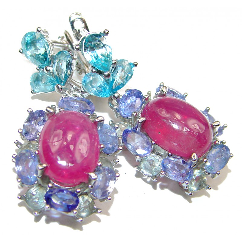 Stunning Authentic Ruby Tanzanite .925 Sterling Silver handmade earrings