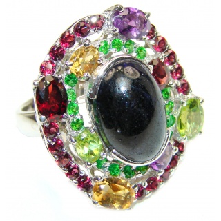 Large Genuine 25ctw Sapphire .925 Sterling Silver handcrafted Statement Ring size 9 1/4