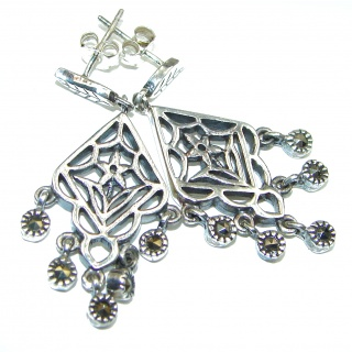 Classy Marcasite .925 Sterling Silver handcrafted earrings