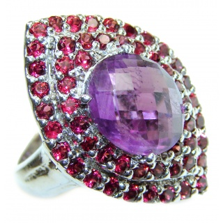 Royal purple authentic Amethyst .925 Sterling Silver Statement Ring size 8 3/4