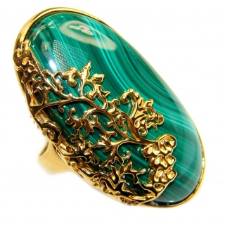 Natural Best quality Malachite 14k Gold over .925 Sterling Silver handcrafted ring size 8 1/4