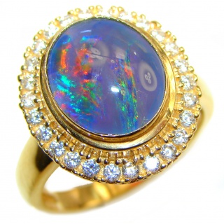Australian Doublet Opal 18K Gold over .925 Sterling Silver handcrafted ring size 8 1/4